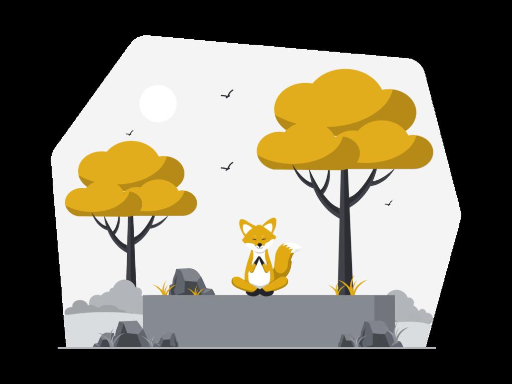 Zeichnung: Meditierender Fuchs im Jungle
