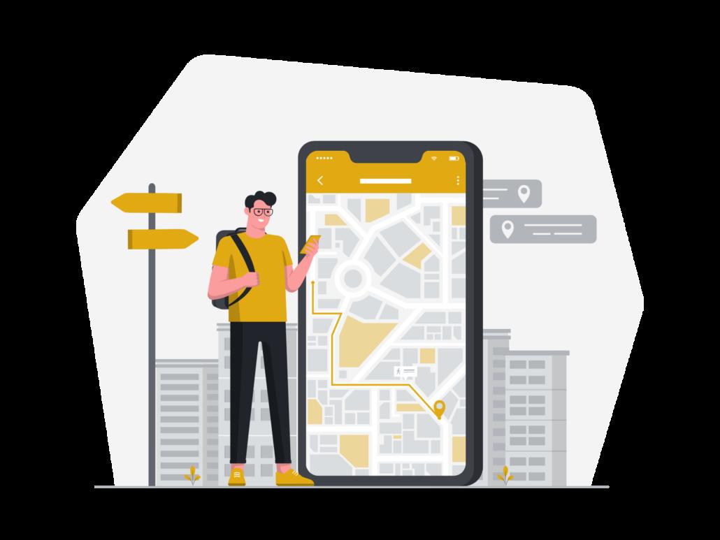 Zeichnung: Mann mit Handy und Navigations-App