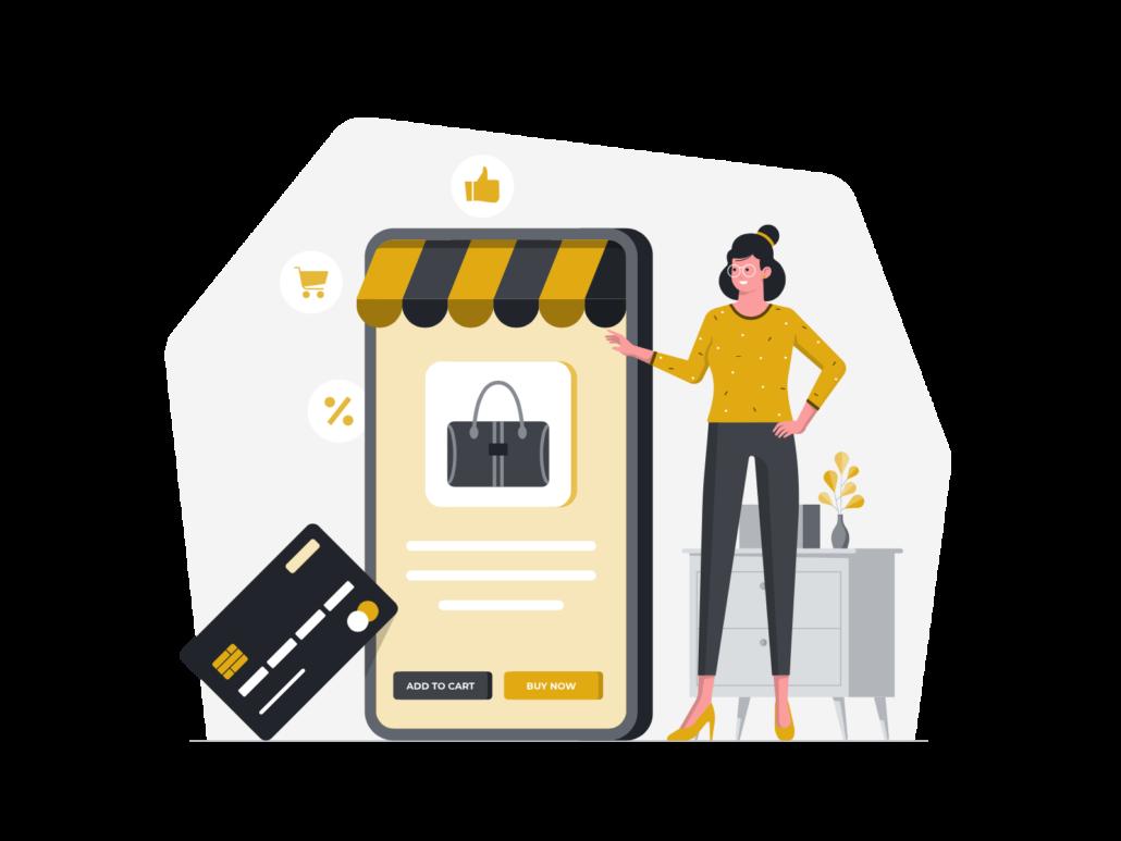 Zeichnung: Frau mit Handy und Kreditkarte