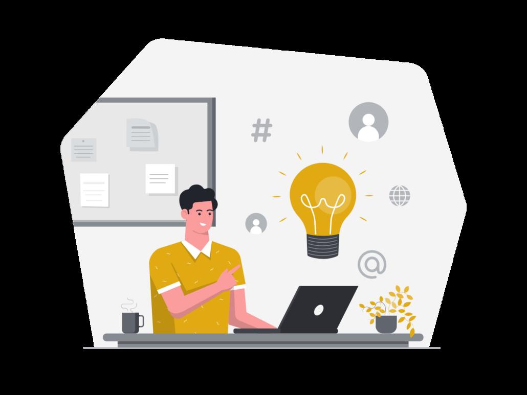 Zeichnung: Mann sitzt vor Laptop mit Social Icons