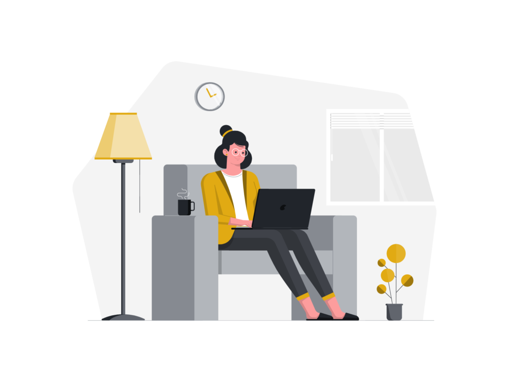 Zeicnung: Frau im Wohnzimmer mit Laptop